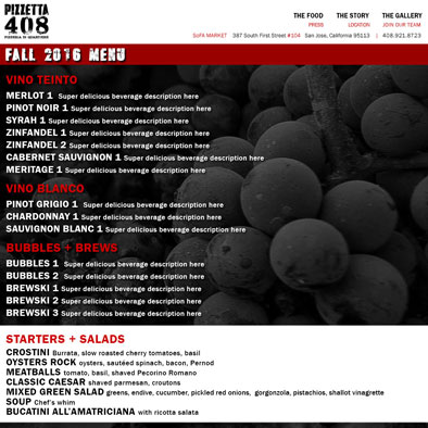 Graphic & Website Design: www.pizzetta408.com